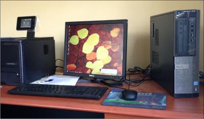 A desktop computer sitting on top of a desk